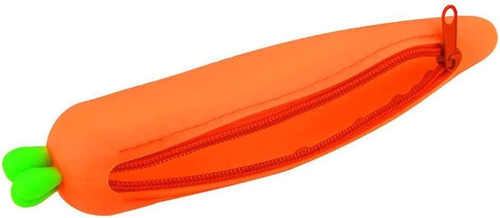 Estuche de silicona con forma de zanahoria, para guardar cosméticos, maquillaje, monedero, etc.: Amazon.es: Oficina y papelería