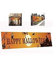 JCT Halloween Banner Grote Gelukkig Halloween Banner Vlag Decoratie,Grappige Halloween Eng Bloedige Banner8.2X1.6ft, Halloween Terror Yard Banners, Halloween Feestbenodigdheden Tuin Decor