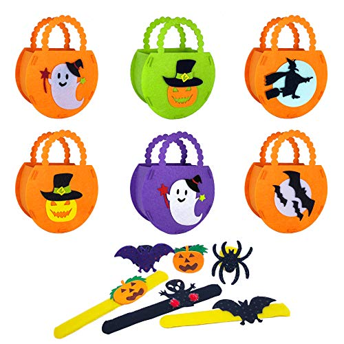 Mcuppe-Pack of 6 Trick or Treat Halloween Bags with Handles DIY Felt Halloween Goodie Handbags Party Gift Candy baskets for Kids,Free Halloween bracelets -