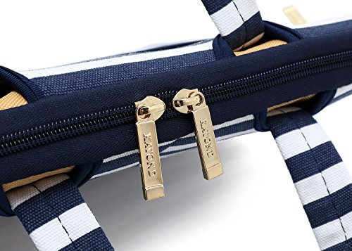 Kayond Canvas Fabric Ultraportable Neoprene Laptop Carrying Case/Shoulder Messenger Bag/Daily Briefcase Work/School/Travel(15-15.6, Breton Stripe) by kayond (Image #5)