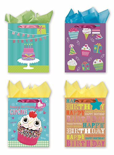 Happy Birthday Gift Set (4 Large Party Gift Bags, Birthday Gift Bags - Set of 4 Happy Birthday Gift Bags w/Tags & Tissue Paper)