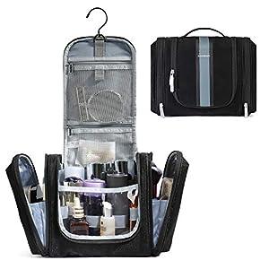 BAGSMART Hanging Toiletry Bag Travel Large Wash Bag Waterproof Cosmetic Bag Makeup Organizer for Women and Men,(Black)
