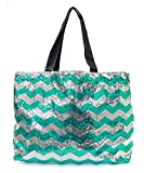 Cheap Chevron Sequin X Large Tote Bag 24-inch (Green)