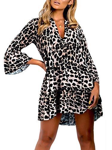Ramoug Womens Asymmetric Leopard Print Mini Dress V-Neck Flare Sleeve Tunic Tops Flowy Short Beach Dress S