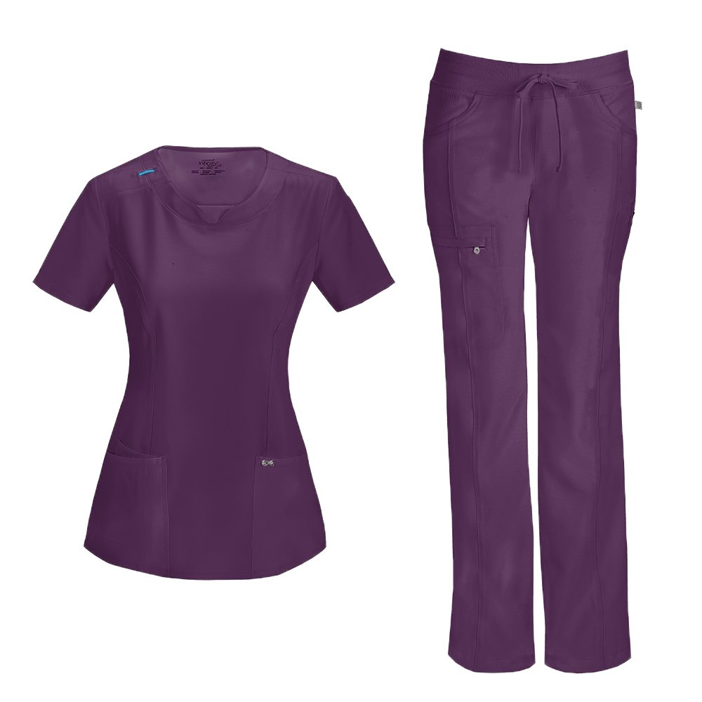 Cherokee Infinity Women's with Certainty Round Neck Top 2624A & Low Rise Drawstring Pant 1123A Scrub Set (Antimicrobial) (Eggplant - XX-Large/XX-Large)