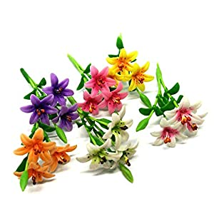 An_Shop Artificial Flowers 6pcs Real Looking Multicolor Fake Lilly Mini for DIY Wedding Bouquets Home Decorations Dollhouse 25