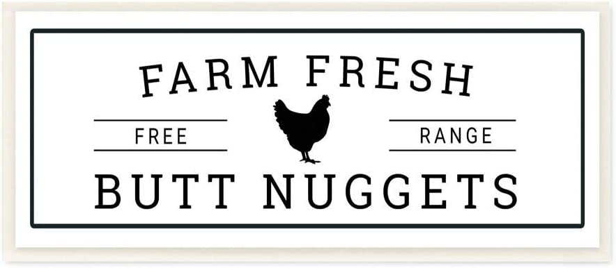 Stupell Industries Farm Fresh Butt Nuggets Funny Chicken Word, Design by Susan Ball Art, 7 x 17, Wall Plaque
