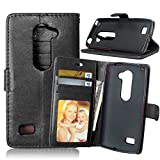 Leon 4G LTE C40 Phone Case, [Free Charger Cable] TOMYOU PU Leather Money Wallet Case, Flip Card Slots and Stand Cover for LG Leon 4G LTE C40 (H340N) (Black)
