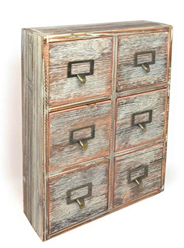 Farmhouse Decor Desk Organizer Storage Cabinet Apothecary Drawers Rustic Wood Distressed Finish