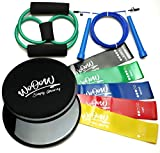 """Full Body Workout Kit: Gliding Discs and 5 Resistance Bands + Jump Rope + """"8Shape"""" Band - Equipment for Home Exercises – Core Sliders and Loop Bands Set for Men Women 