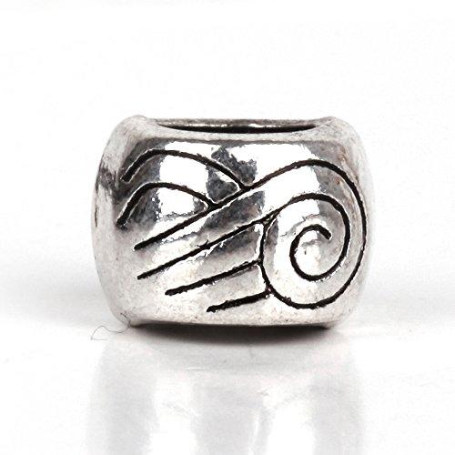 Spiral Flower Charms - RUBYCA 30pcs Tibetan Silver Tone Spacer Beads Fit European Charms Bracelet Wind Spiral Design