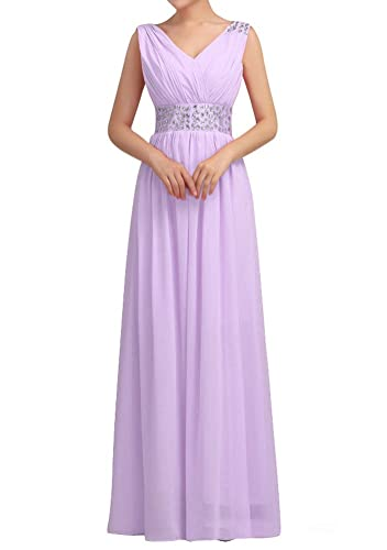 Huafeiwude Women's V Neck Chiffon Floor Length Long Evening Dresses