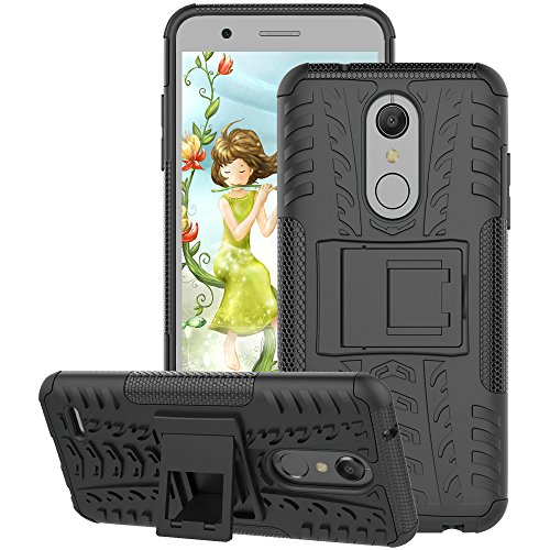 LG K30 Case, LG Premier Pro LTE Case, LG K10 2018 Case, GSDCB Air Cushion Shockproof Phone Protective Case with Kickstand Hard PC Back Cover and Soft TPU Dual Layer for Women Men Girl Kid Boy (Black)