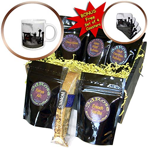 3dRose TDSwhite - Miscellaneous Photography - Cog Railway Train Engine Silhouette White Mountains New Hampshire - Coffee Gift Baskets - Coffee Gift Basket (cgb_296506_1)