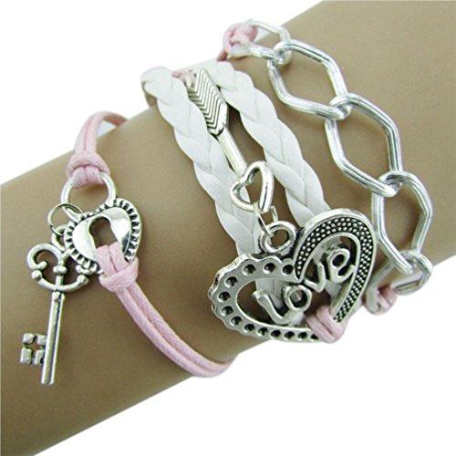 Clearance ! Yang-Yi Fashion Hot Women Infinity Love Heart Key Lock Friendship Chain Antique Leather Charm Bracelet (Pink, 17cm)
