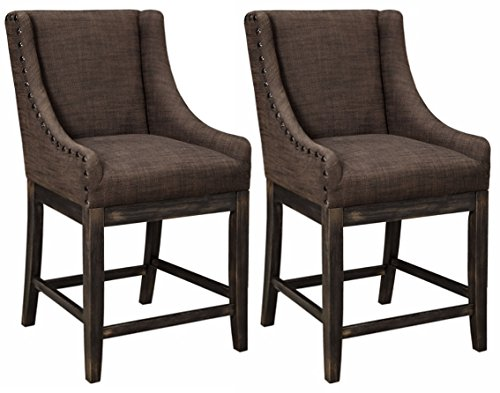 Ashley Furniture Signature Design - Vintage Casual Bar Stool - Wing Back Style - Counter Height - Set of 2 - Dark Brown (Dark Brown Dining Set)