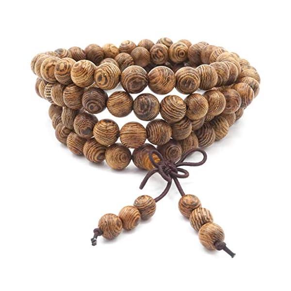 108 Bracciale da preghiera Bracciale Mala, legno naturale Tibetano Buddista Buddha Meditazione Collana bracciale mala