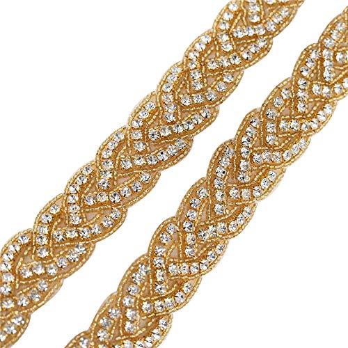(Gold Beaded Rhinestone Bridal Wedding Dress Applique Trimming 1 Yard for Veil Crystal Bridesmaid Gown Womens Prom Formal Sash Belt Applique 1 Yard Antique Vintage Sparkly Skinny Bling Elegant )