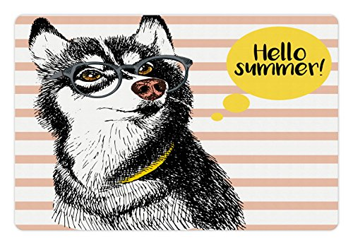 Ambesonne Alaskan Malamute Pet Mat for Food and Water, Retro Design Cute Hipster Husky with Glasses Saying Hello Sketch Artwork, Rectangle Non-Slip Rubber Mat for Dogs and Cats, Multicolor ()