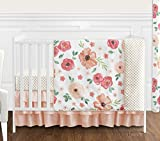 Sweet JoJo Designs Peach and Green Shabby Chic Watercolor Floral Baby Girl Crib Bedding Set Without Bumper - 4 Pieces - Pink Rose Flower Polka Dot