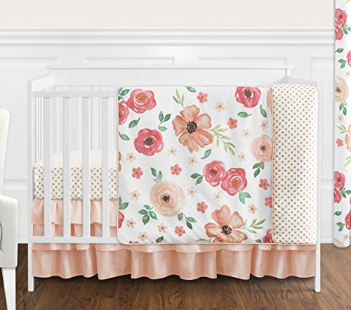 Sweet Jojo Designs Green - Sweet Jojo Designs Peach and Green Shabby Chic Watercolor Floral Baby Girl Crib Bedding Set Without Bumper - 4 Pieces - Pink Rose Flower Polka Dot