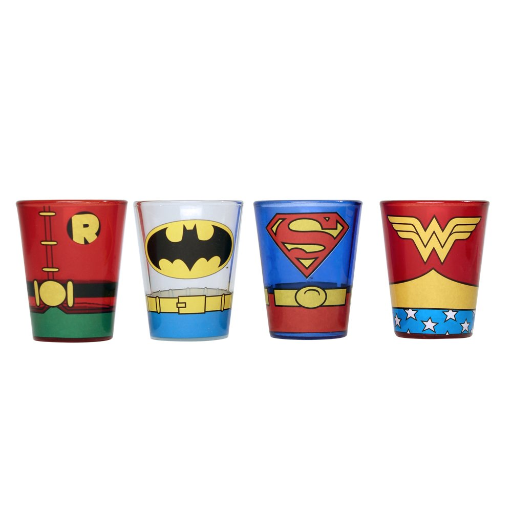 Silver Buffalo DC031SG8 DC Comics Superheroes Uniforms Mini Glass Set, 4-Pack