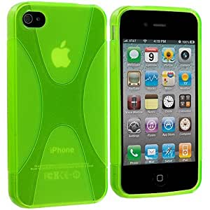 Accessory Planet(TM) Neon Green X-Line TPU Rubber Skin Case Cover Accessory for Apple iPhone 4 / 4S