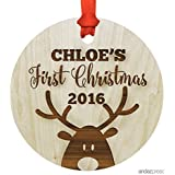 Andaz Press Personalized Laser Engraved Wood Christmas Ornament with Gift Bag, Baby's First Christmas 2019, Round, Reindeer, Custom Name, 1-Pack, Baby Shower Ideas