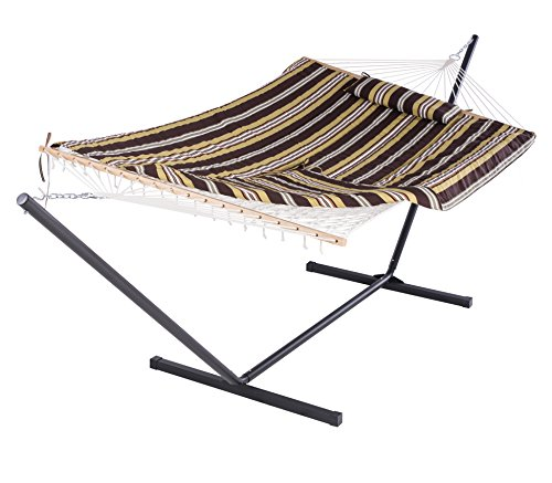 SUNCREAT Cotton Rope Hammock with 12 Foot Steel Stand, includes Pad and Pillow, iPad Bag and Cup Holder-Desert Stripe