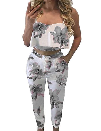f6e307ce4d FANCYINN Women Summer Gray Ruffle Crop and Middle Waist Pants Floral Print  Set S