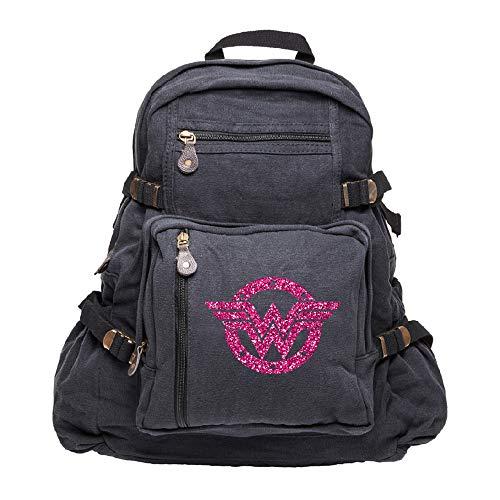 Wonder Woman Logo Heavyweight Canvas Backpack Bag, Black & Glitter Pink Large