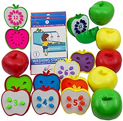 Skoolzy Counting Toddler Games - STEM Apple Factory Learning Toys for 3  Year olds to Ages 6 - Fine Motor Skills Color Sorting Montessori Toys for  ...