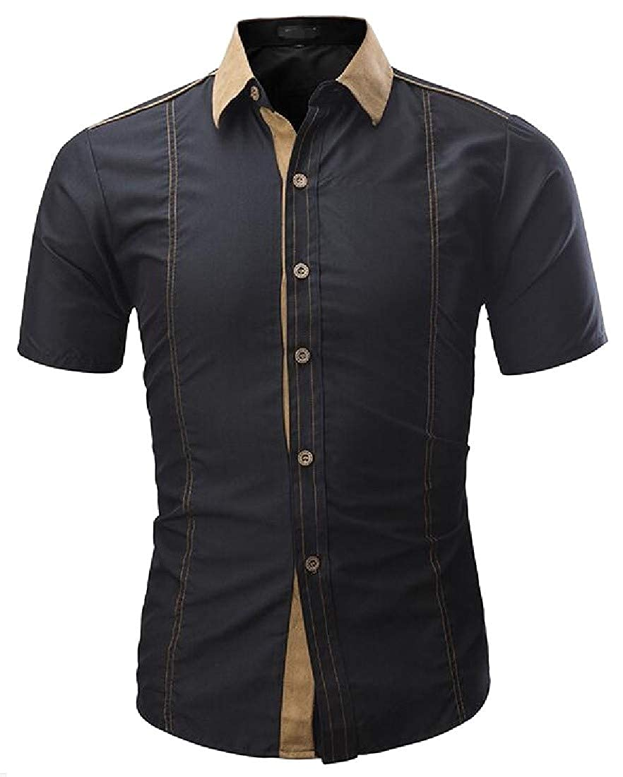Hajotrawa Mens Slim Inner Contrast Button Down Short Sleeve Faux Suede Patch Shirts
