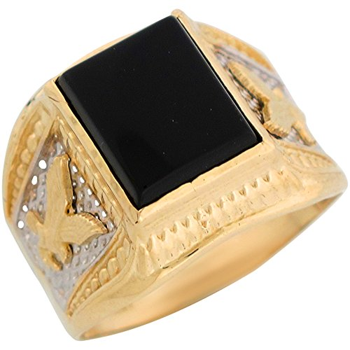 14k Two Tone Gold Onyx Flying Eagle Patriotic Mens Ring (Gold Onyx Eagle Ladies Ring)