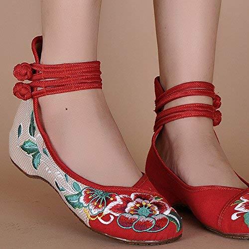 Scarpe Femminile Casual Dimensione Ricamate Etnico A All'interno Tendine Dell'aumento Suola Comodo Rosso Stoffa Stile 35 Di colore Moda Fuxitoggo Fd7wqF