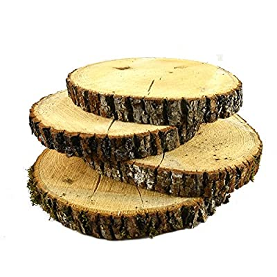 "NATURAL UNTREATED BASSWOOD SLABS 9"" to 11"" DIAMETER (Large) - Excellent for weddings, centerpieces, DIY projects, table chargers or decoration! By Woodland Decor (SET OF FOUR SLABS)- WITH CRACKS"