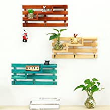 Wood Wall Shelf, Creative 3-Tier Wall Mount Wooden Rack With 3 Hooks Retro, Multi Use For Hallway Living Room Office Bathroom Kitchen bedroom (Blue)