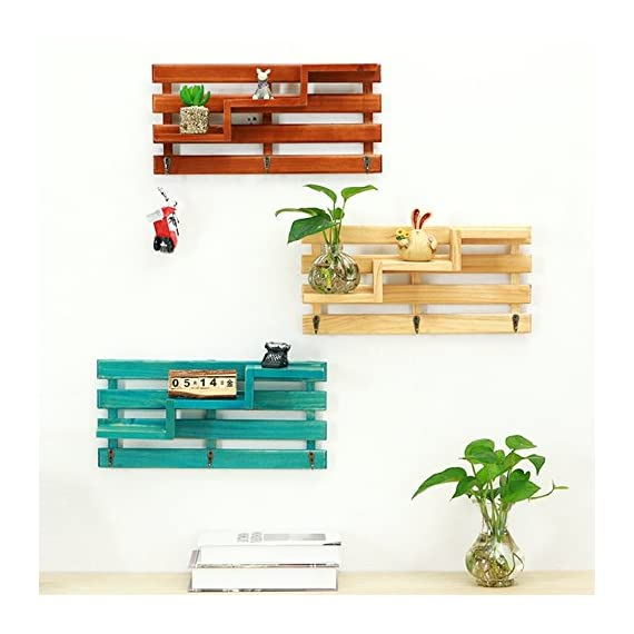Wood Wall Shelf, Creative 3-Tier Wall Mount Wooden Floating Shelf With 3 Hooks Retro Rustic, Multi Organizer for Entryway Hallway Living Room Office Bathroom Kitchen Bedroom Decoration (Burlywood) - Size:39.5*8.5*18.8cm/approx 15.55*3.35*7.4 inch, can both save your space and decorate your room Our Wall shelf is made of natural and healthy pine, Non-toxic, odorless natural environmental protection Comes with 2 hooks at back, no assembly needed, just hang it - wall-shelves, living-room-furniture, living-room - 51qrvgusKFL. SS570  -