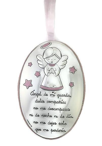 Medalla de cuna /ó cochecito con Angelito en Plata bilaminada disponible en colores Rosa y azul a su elecci/ón.