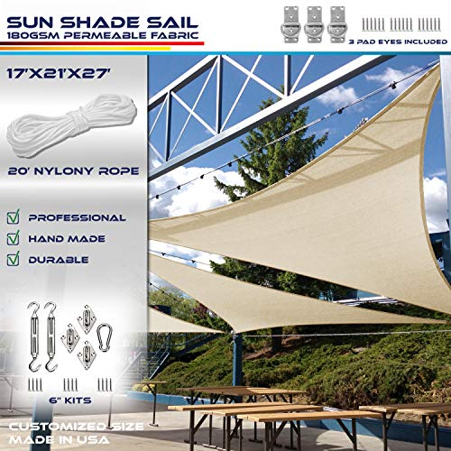 Windscreen4less 17 x 21 x 27 Right Triangle Sun Shade Sail with 8 inch Hardware Kit – Wide Beige Stripes White Stripes Durable UV Shelter Canopy for Patio Outdoor Backyard – Custom