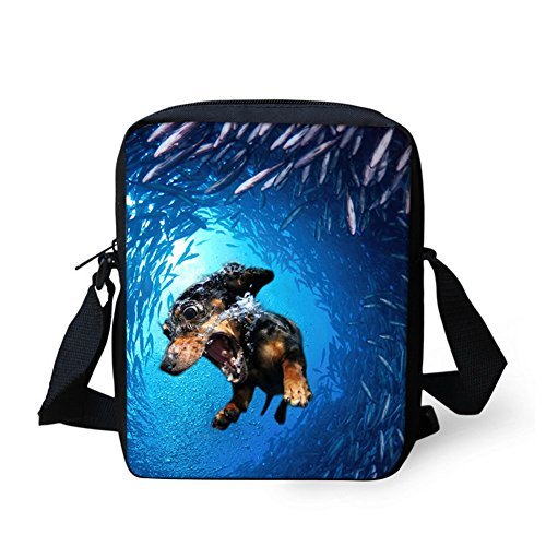 HUGS IDEA Dolphin Pattern Women's Casual Travel Crossbody Bag Small Shoulder Handbag Kids Schoolbag Dachshund