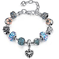 Presentski Love Charm Bracelet for Women and Girls with Pink CZ, Heart, Amour, Amor, Flower, and Butterfly