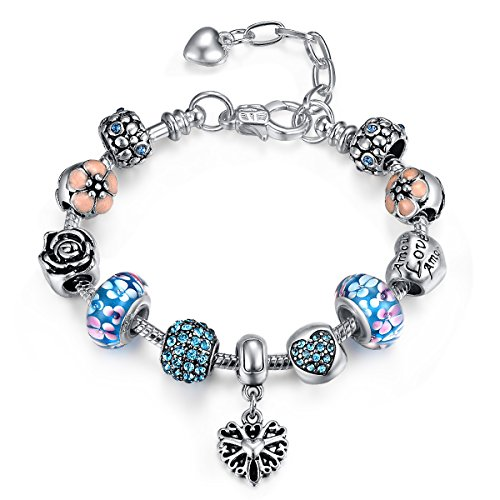 Presentski Fashion Charm Bracelet with Extended Chain for Teen Girls and Women Love Themed Blue Charms