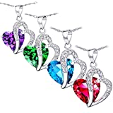 MABELLA Gemstone Jewelry Double Heart Pendant Sterling Silver Necklace for Women