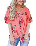 Summer Shirts for Women Floral Blouses Tie Front V Neck Tops Plus Size Tees Coral