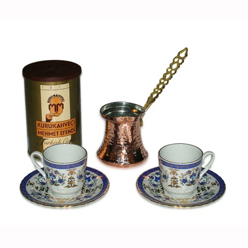 Turkish Coffee Set for Two with Importance Coffee (8.8 oz/250 g)