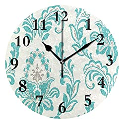 FunnyCustom Round Wall Clock Damask Tiffany Blue Acrylic Creative Decorative for Living Room/Kitchen/Bedroom/Family