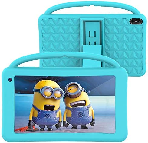 Kids Tablets Toy 7 Inch IPS HD Display QuadCore Android 10.0 Pie Tablet PC for Kids GMS Certificated 2GB RAM 32GB ROM WiFi with Handheld Portable Kids-Proof Silicon Case for Kids Birthday Gift Blue