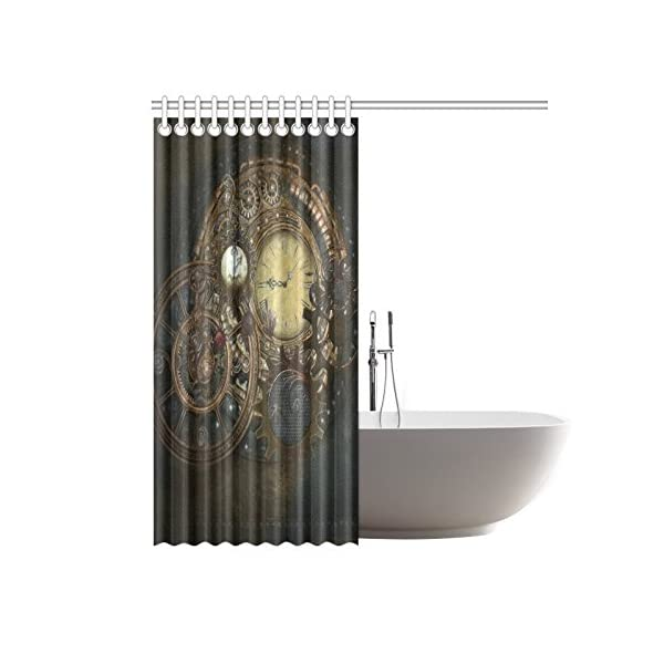 Happy More Custom Steampunk Clocks And Gears Bathroom Waterproof Fabric 60x72 inch Shower Curtain 4