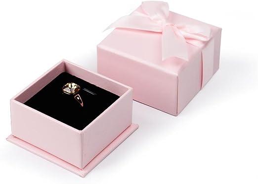 oirlv rosa blanco caja de anillo de terciopelo boda/proponer/del ...